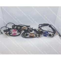 Leren armband met bot (zilver)