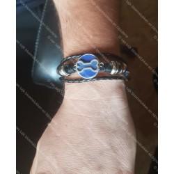 Leren armband met bot ( kopper)