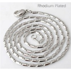 Brass halsketting rhodium plated 60cm, 2mm dik