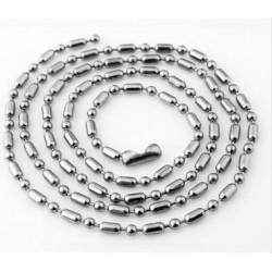 Roestvrijstalen ball chain halskettingen 60cm, 2,5mm dik