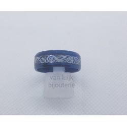 rvs heren ring vintage blauw