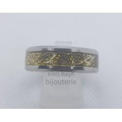 rvs heren ring vintage zilver/goud